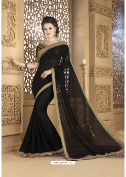 Black Faux Georgette Party Wear Saree
