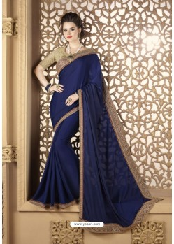 Blue Crepe Silk Party Wear Saree