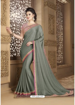 Dull Grey Crepe Silk Party Wear Saree