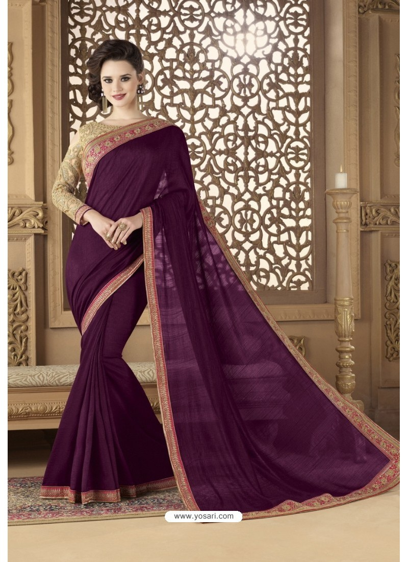1e56674a8b61eb Buy Purple Khadi Silk Party Wear Saree