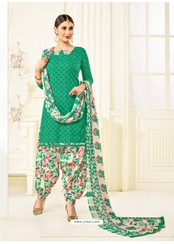 Jade Green Cotton Printed Suit