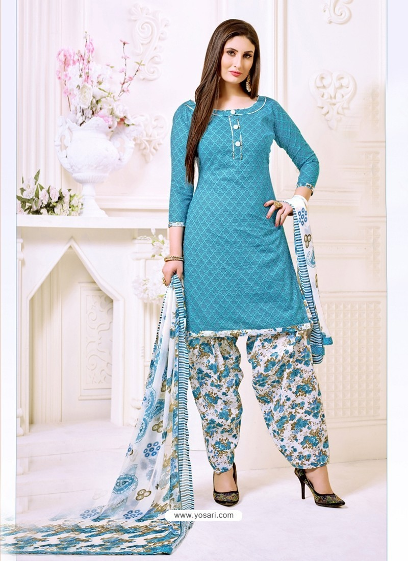 Turquoise Cotton Printed Suit