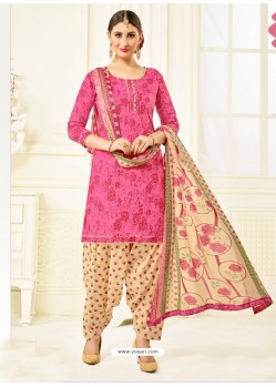 Fuchsia Cotton Printed Suit