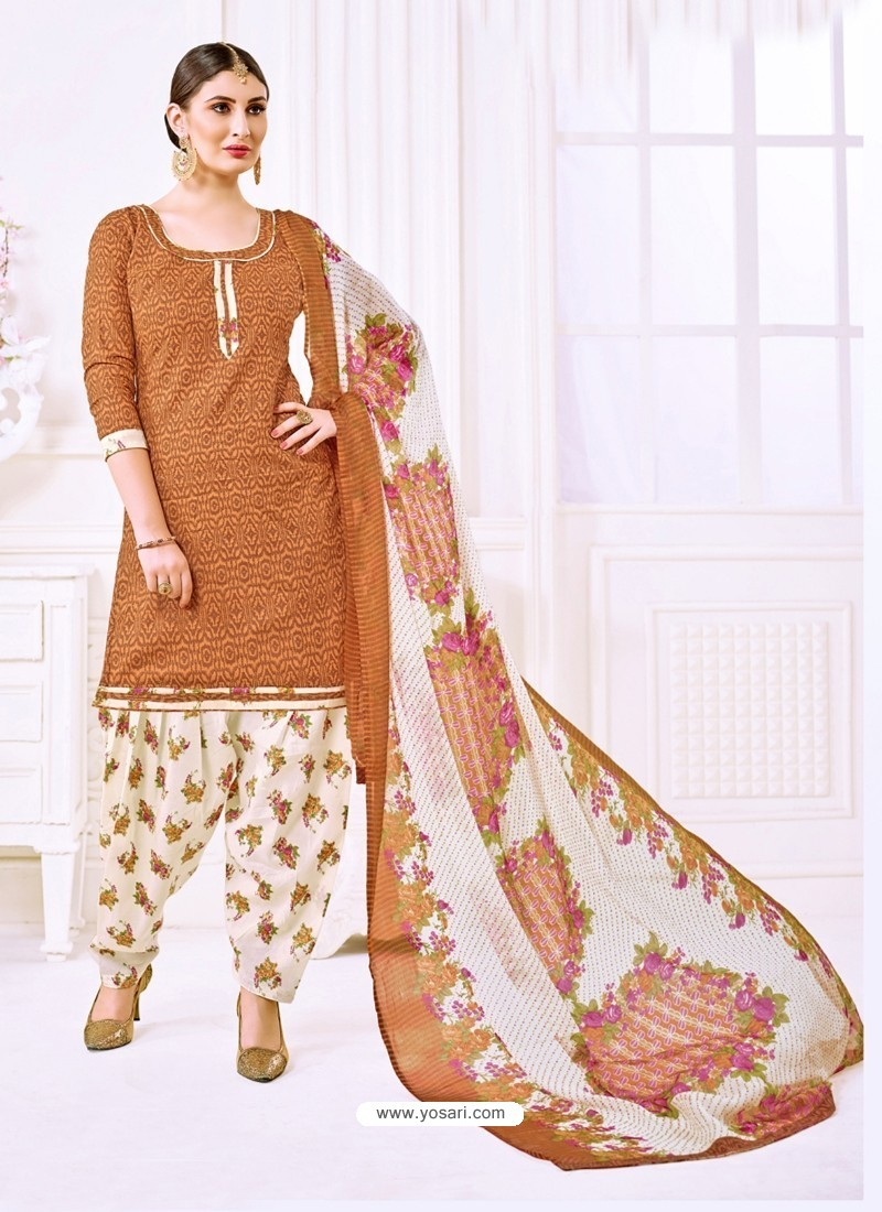 Rust Cotton Printed Suit