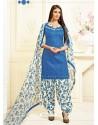 Blue Cotton Printed Suit