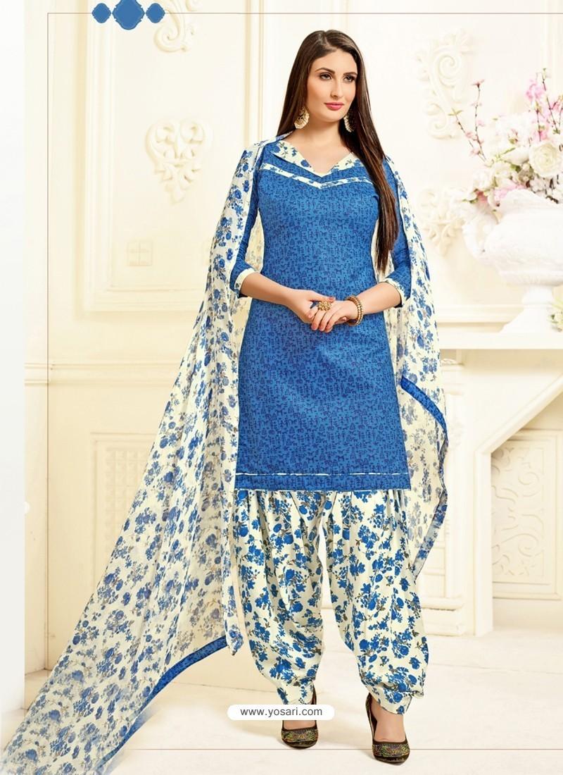 Buy Blue Cotton Printed Suit | Punjabi Patiala Suits