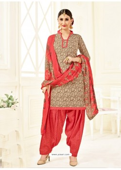 Crimson Cotton Printed Suit