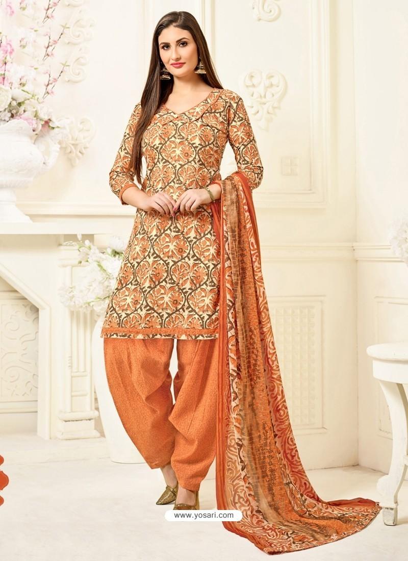 Orange Cotton Printed Suit
