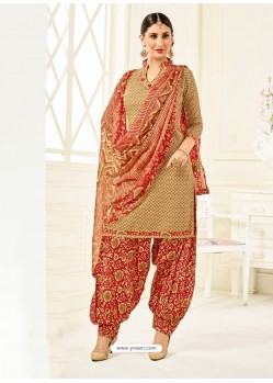 Beige Cotton Printed Suit