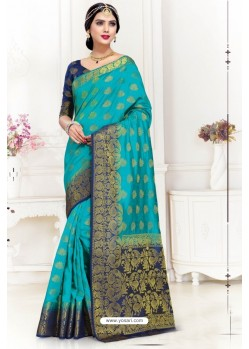 Turquoise Uppada Silk Party Wear Saree
