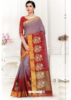 Wine Uppada Silk Party Wear Saree