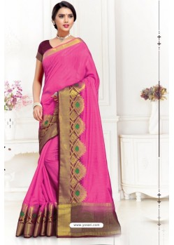 Pink Uppada Silk Party Wear Saree
