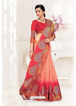 Peach Uppada Silk Party Wear Saree
