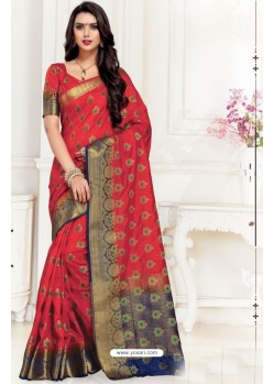 Superb Red Uppada Silk Party Wear Saree