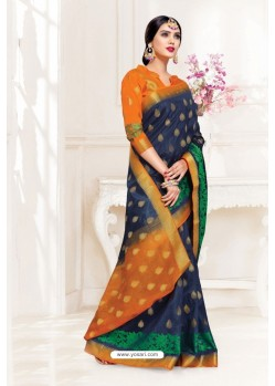 Navy Blue Uppada Silk Party Wear Saree
