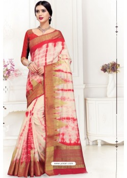 Off White Uppada Silk Party Wear Saree