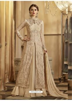 Beige Apple Georgette Embroidered Floor Length Suit