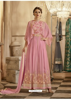 Pink Apple Georgette Embroidered Floor Length Suit