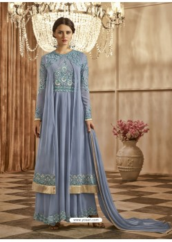 Grey Apple Georgette Embroidered Floor Length Suit