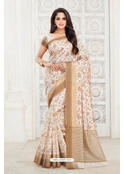 Marvelous Off White Tussar Silk Saree