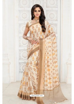 Gorgeous Off White Tussar Silk Saree