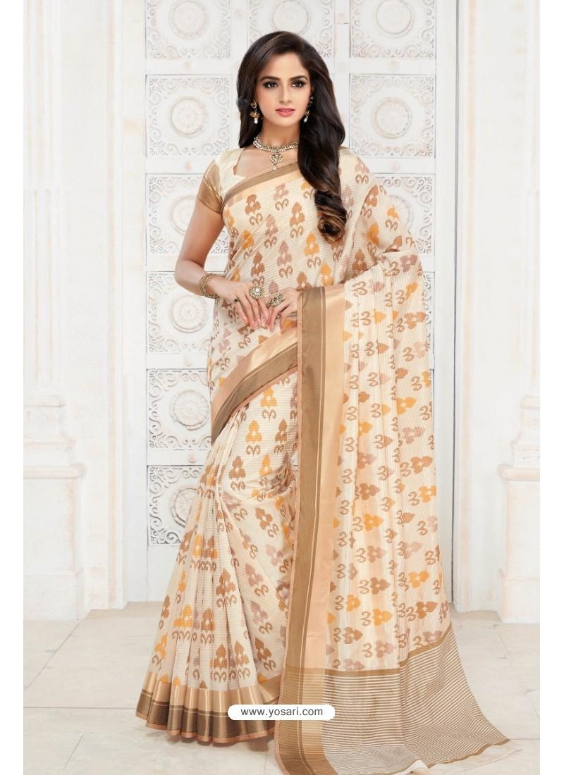 Gorgeous Off White Tussar Silk Saree