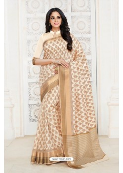 Incredible Off White Tussar Silk Saree
