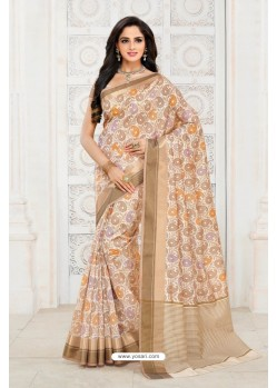 Latest Off White Tussar Silk Saree