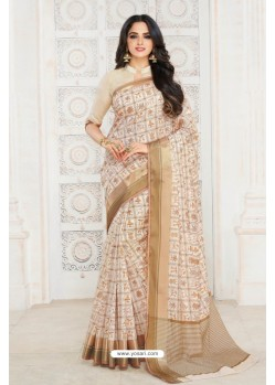Dazzling Off White Tussar Silk Saree
