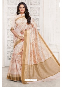 Feminine Off White Tussar Silk Saree