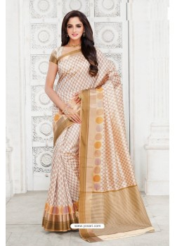Mesmeric Off White Tussar Silk Saree