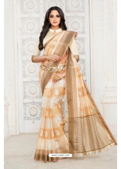 Decent Off White Tussar Silk Saree