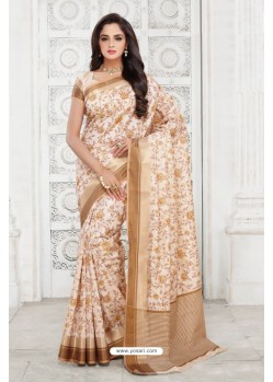 Lustrous Off White Tussar Silk Saree