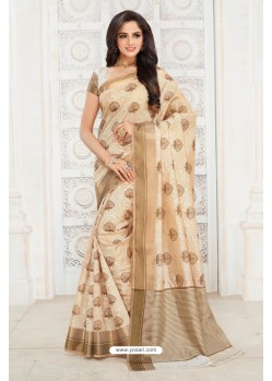 Flawless Off White Tussar Silk Saree