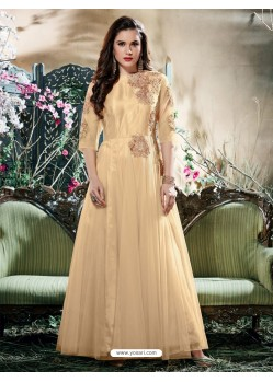 Beige Net Zari Work Gown