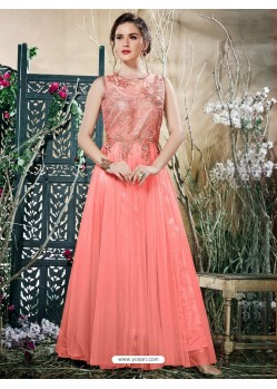 Peach Net Zari Work Gown