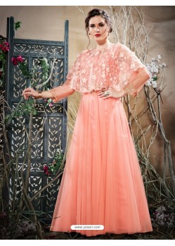 Astonishing Peach Net Zari Work Gown