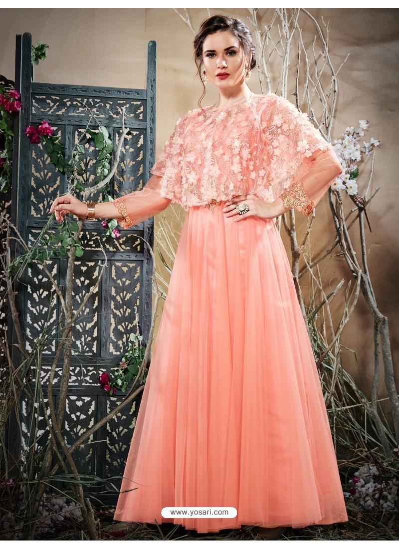 Buy Astonishing Peach Net Zari Work Gown | Gowns