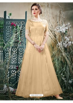 Beautiful Beige Net Zari Work Gown