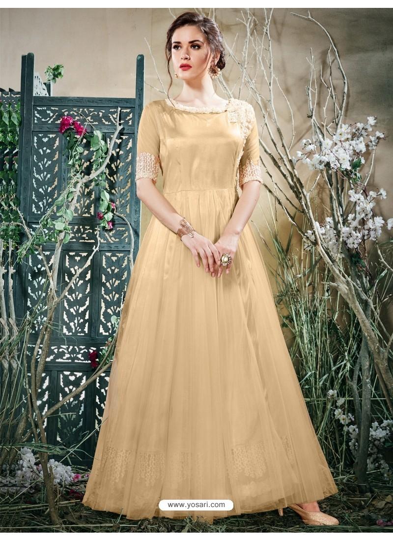 Buy Beautiful Beige Net Zari Work Gown   Gowns