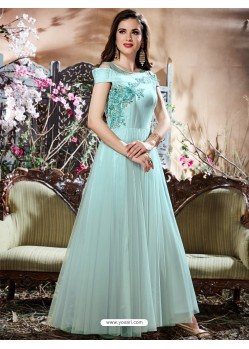 Sky Blue Net Zari Work Gown