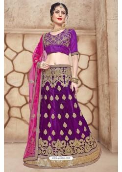 Purple Net Embroidered Lehenga Choli