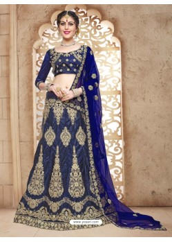 Dark Blue Banglori Satin Silk Lehenga Choli