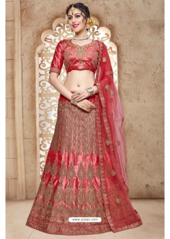 Peach Banglori Satin Silk Lehenga Choli