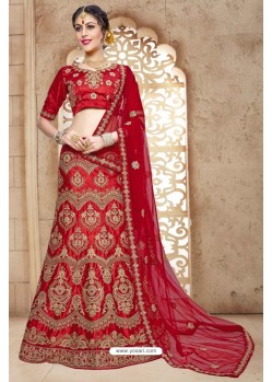 Red Banglori Satin Silk Lehenga Choli
