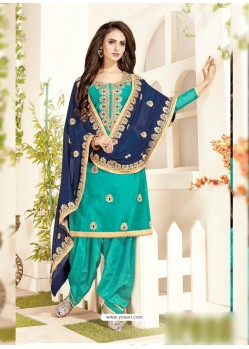 Aqua Mint Chanderi Embroidered Suit