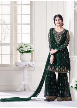 Dark Green Georgette Embroidered Suit
