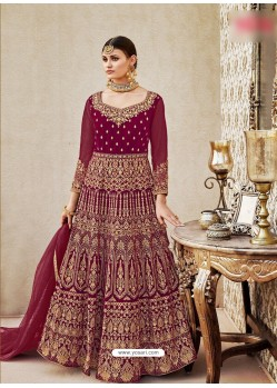 Wine Velvet Embroidered Floor Length Suit