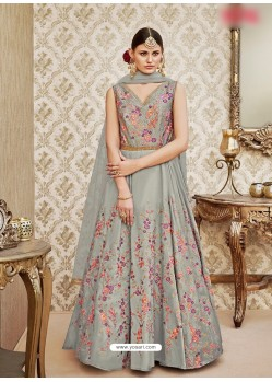 Grey Taffeta Silk Embroidered Floor Length Suit