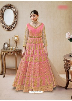 Peach Embroidered Floor Length Suit
